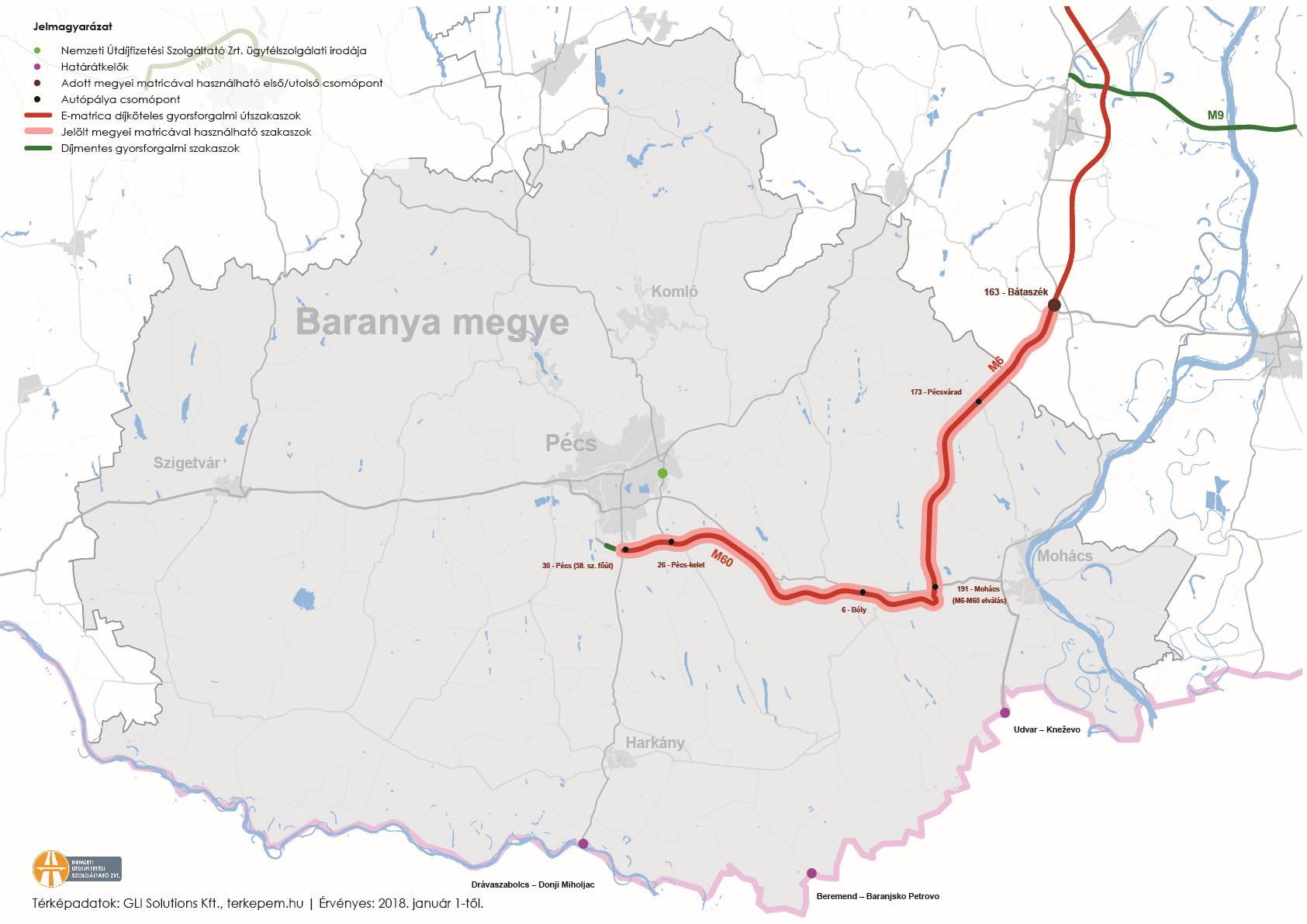 Baranya megye úthálózatának térképe