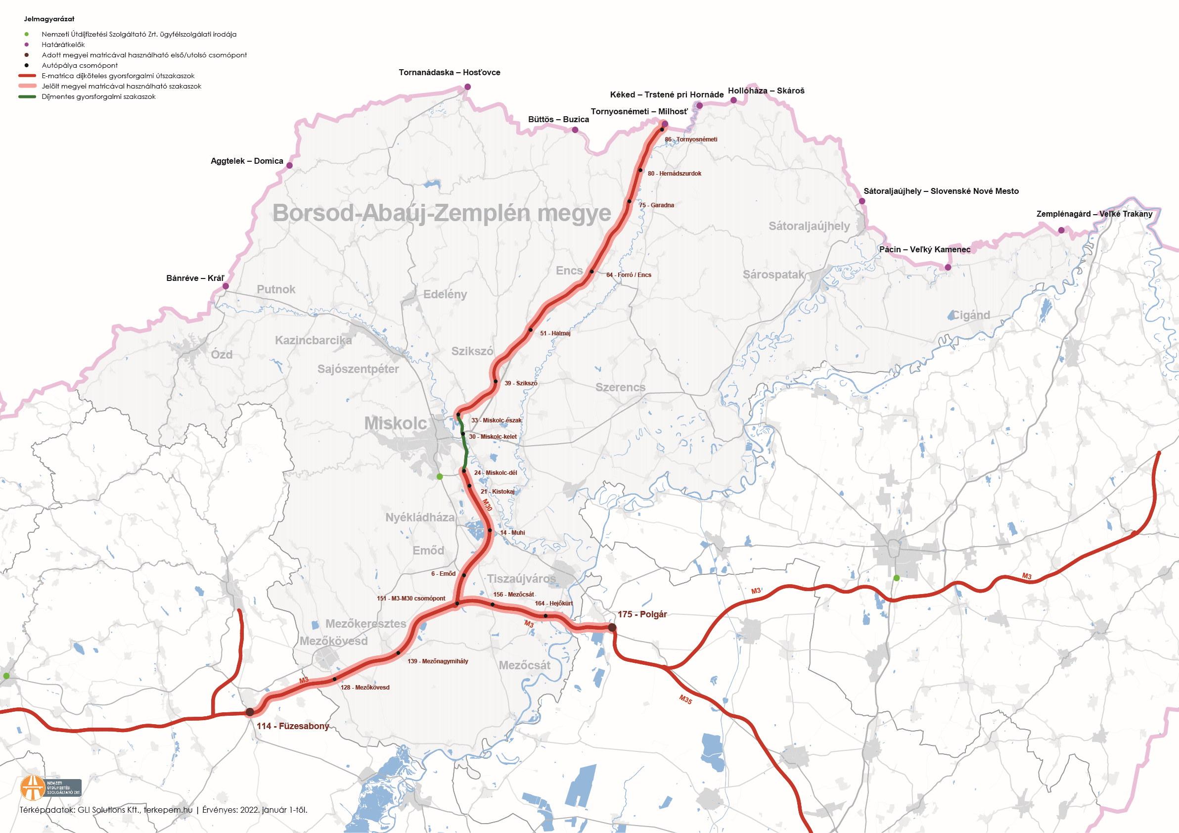 Borsod-Abaúj-Zemplén megye úthálózatának térképe