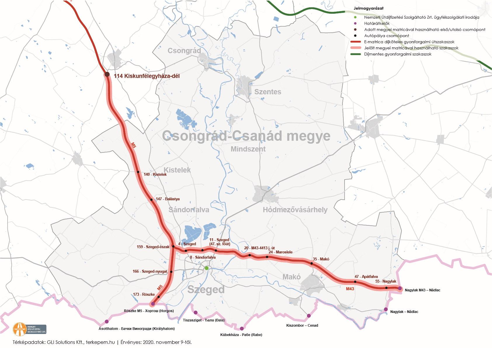 Csongrád megye úthálózatának térképe