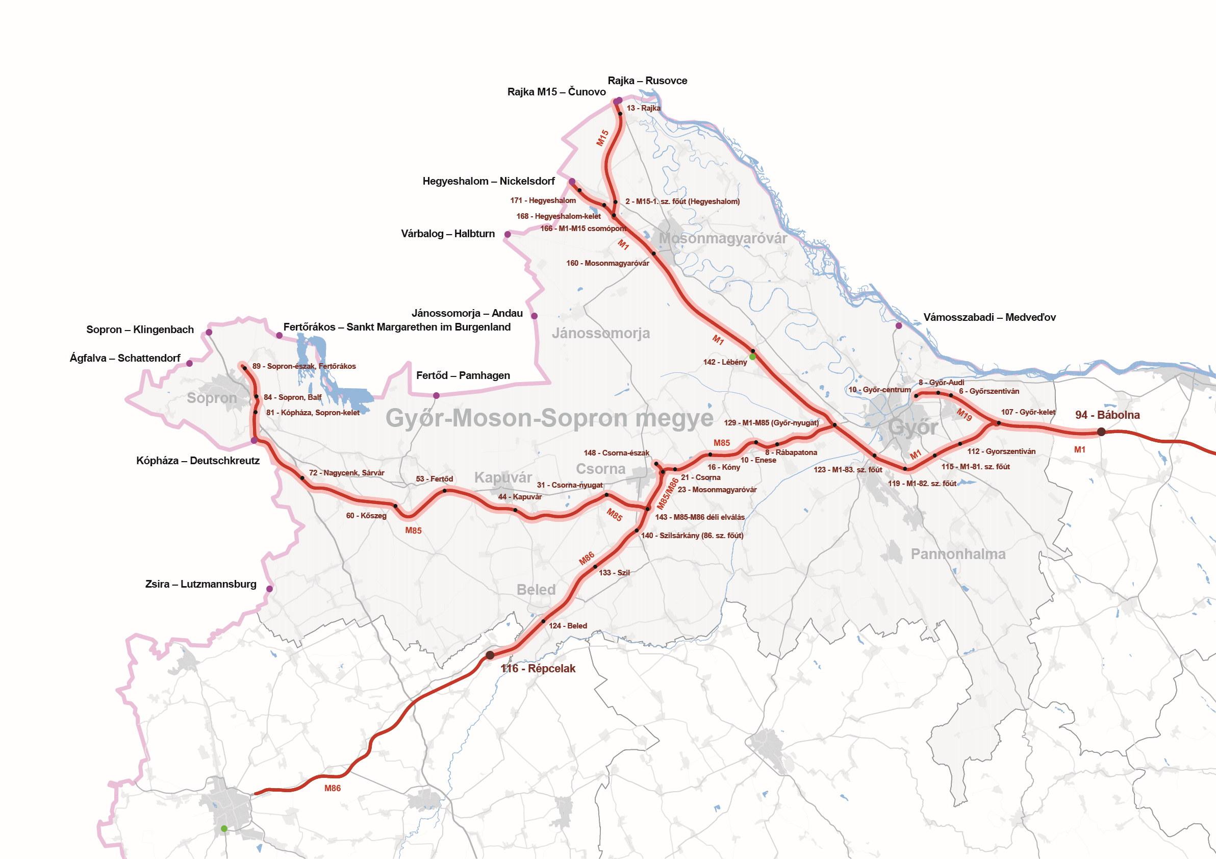 Győr-Moson-Sopron megye úthálózatának térképe