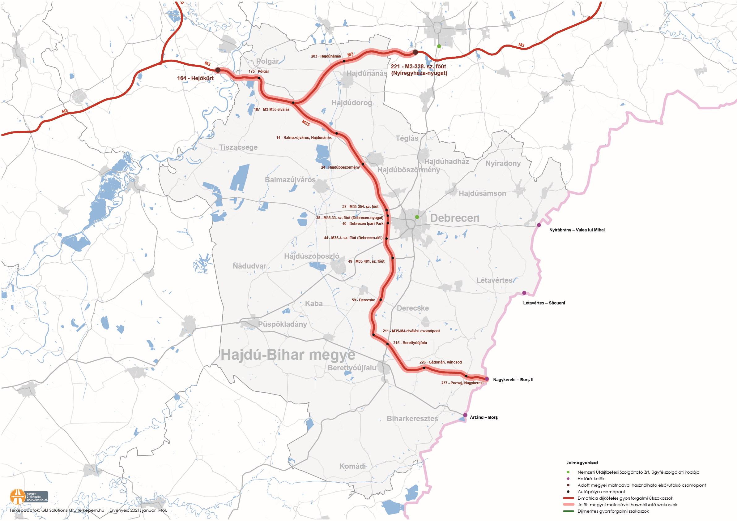 Hajdú-Bihar megye úthálózatának térképe