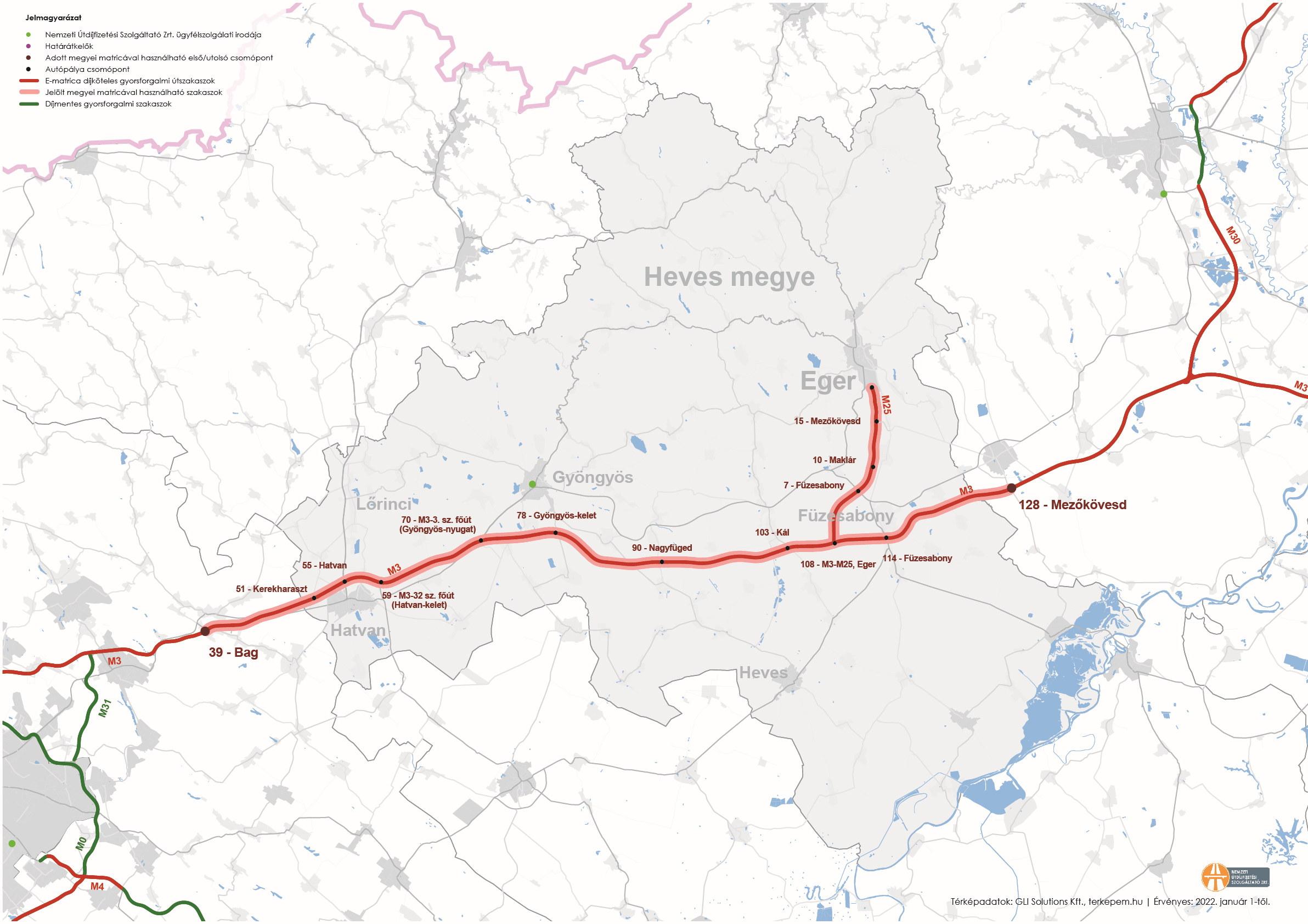 Heves megye úthálózatának térképe