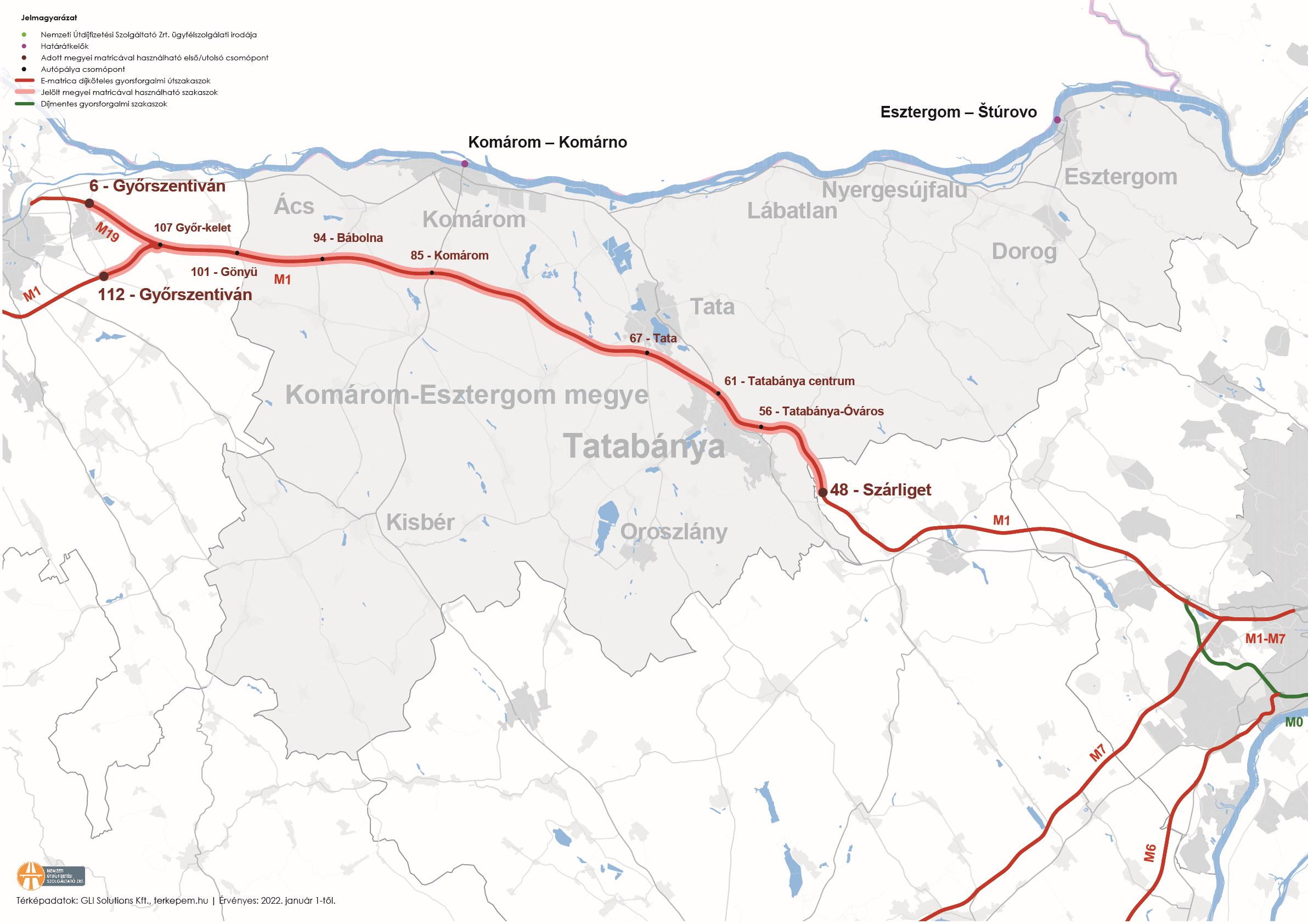 Komárom-Esztergom megye úthálózatának térképe
