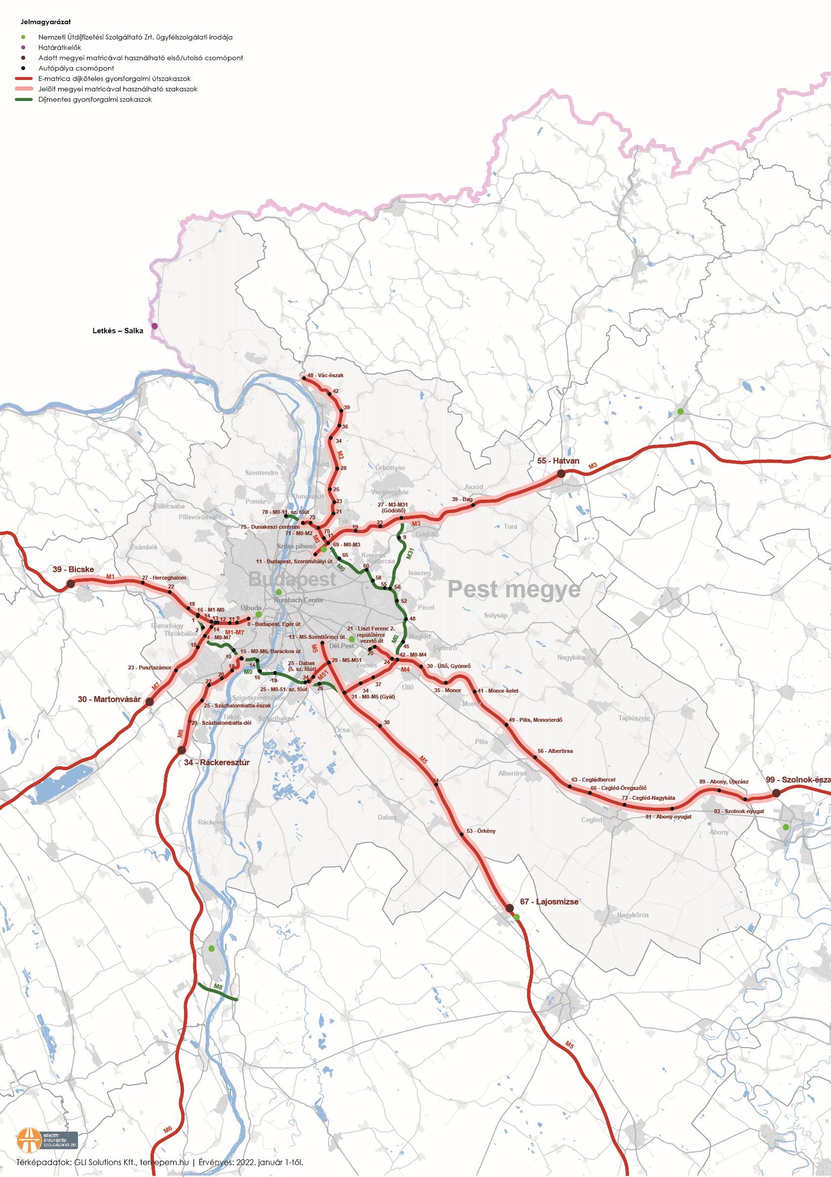 pest megye térkép Pest megyei fizetős utak térképe | ZSEBREMEGY.HU pest megye térkép