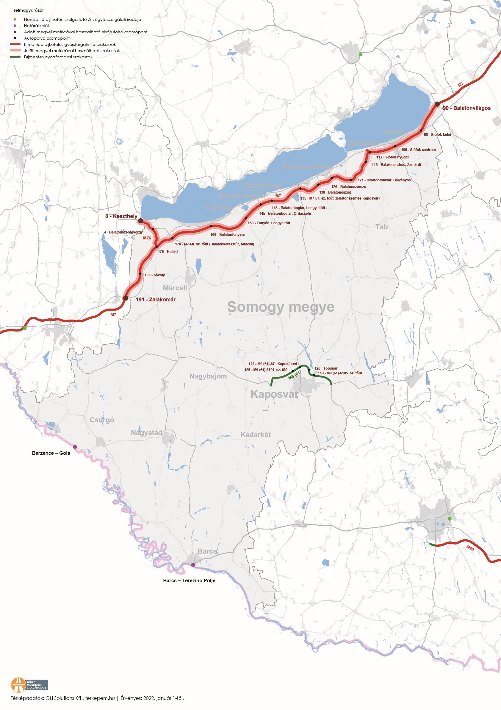 Somogy megye úthálózatának térképe