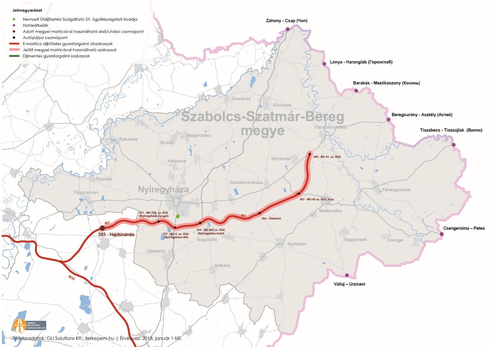 Szabolcs-Szatmár-Bereg megye úthálózatának térképe