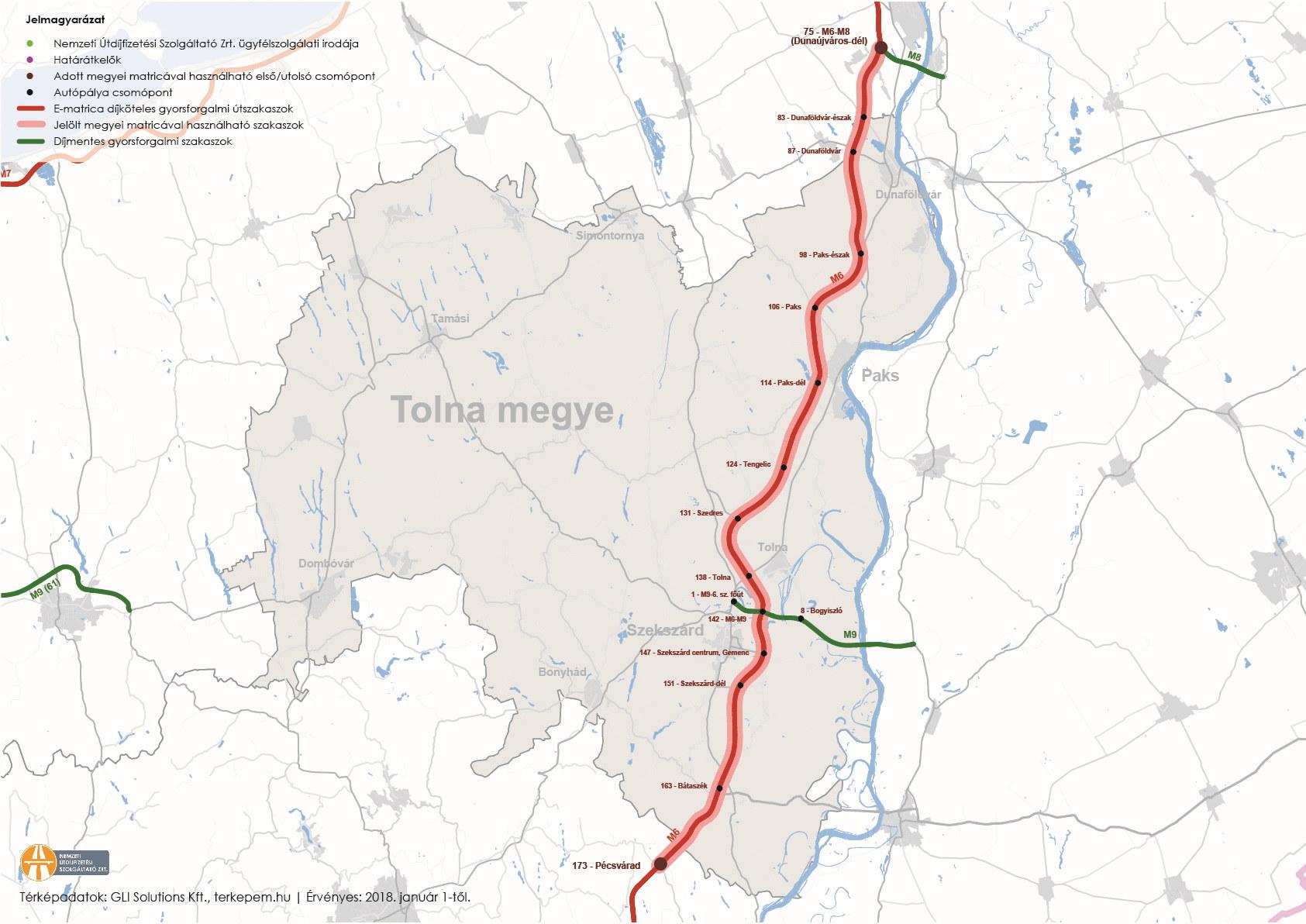 Tolna megye úthálózatának térképe
