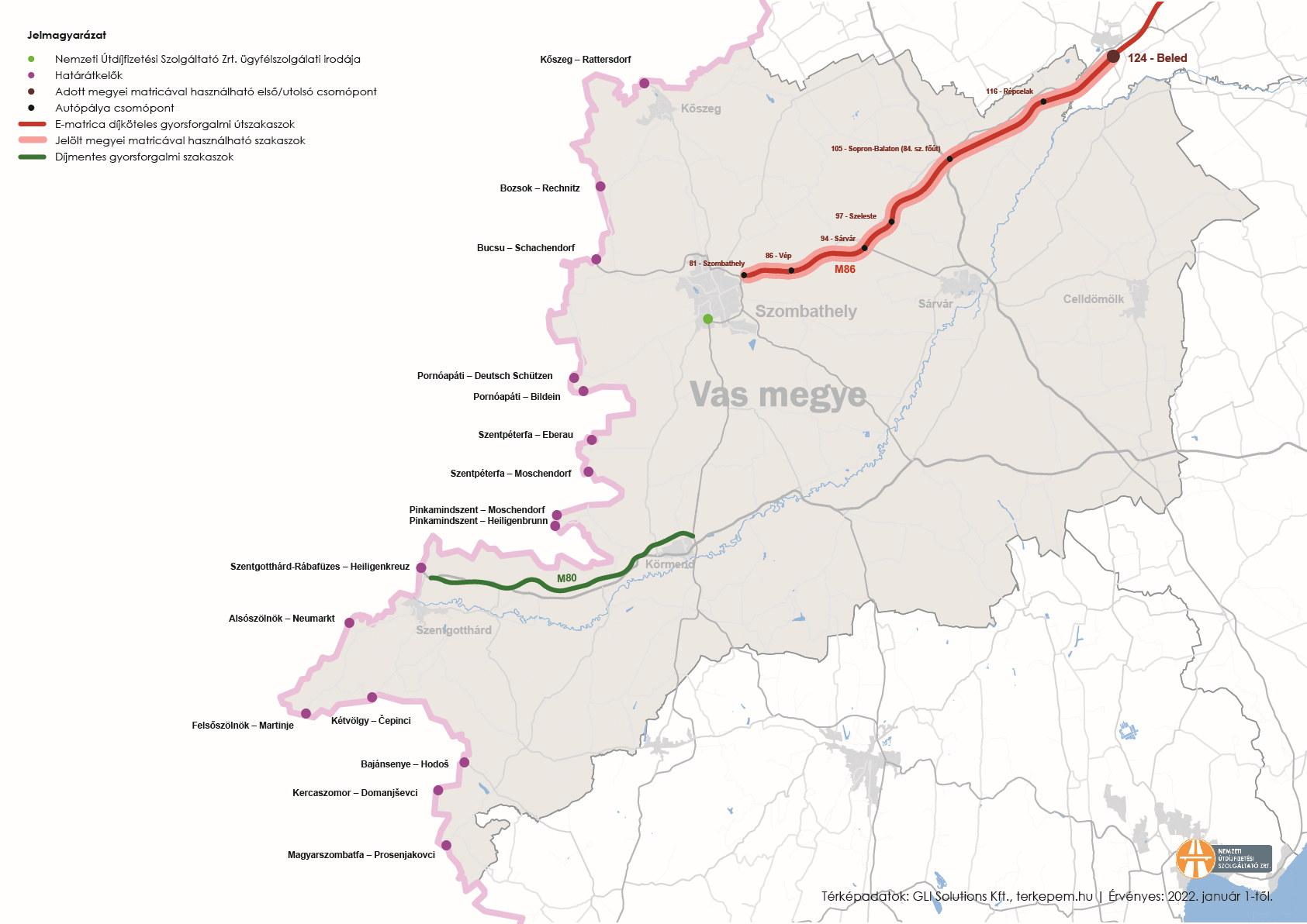 Vas megye úthálózatának térképe