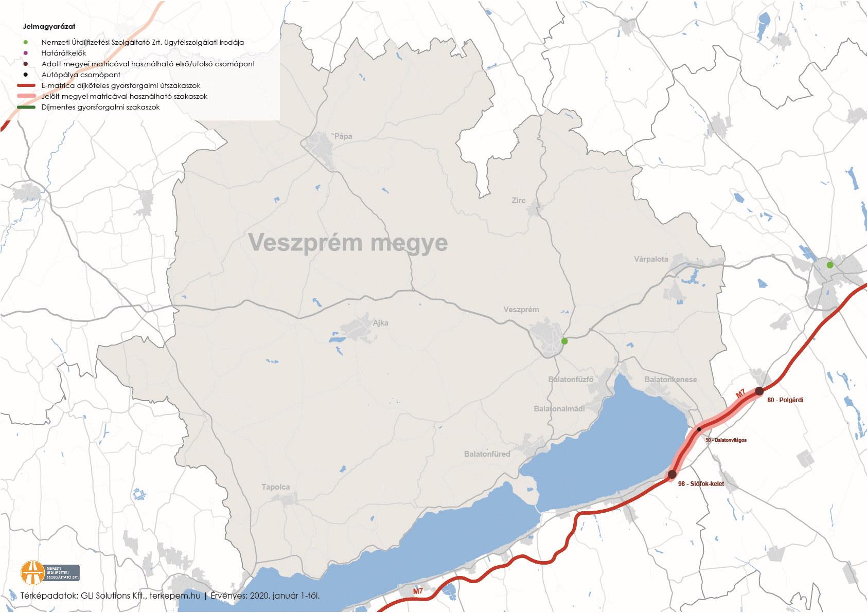 Veszprém megye úthálózatának térképe