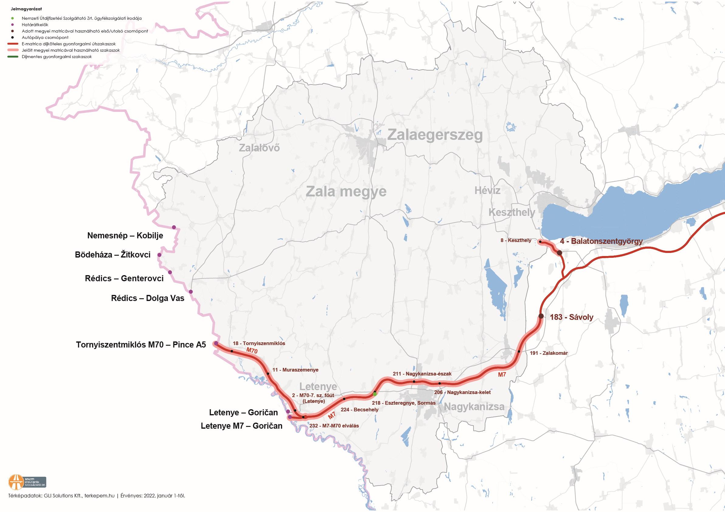 Zala megye úthálózatának térképe