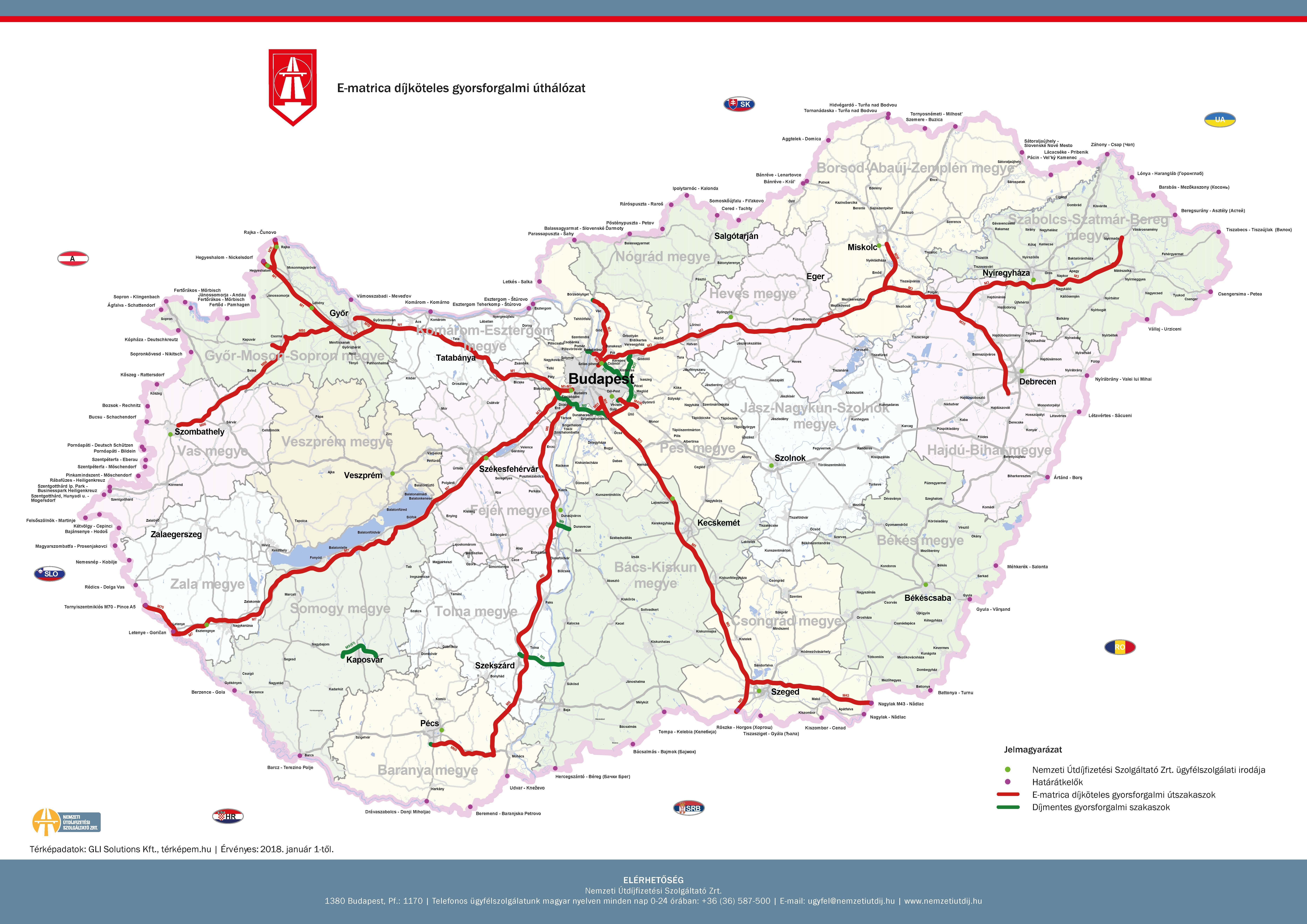 autópálya megyei térkép Fizetős utak országos áttekintő térképe | ZSEBREMEGY.HU